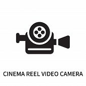 Cinema Reel Video Camera Icon Isolated On White Background. Cinema Reel Video Camera Icon Simple Sig poster