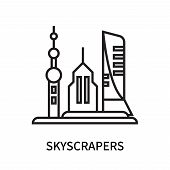 Skyscrapers Icon Isolated On White Background. Skyscrapers Icon Simple Sign. Skyscrapers Icon Trendy poster