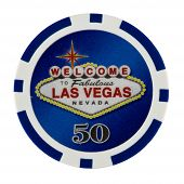 stock photo of las vegas casino  - Fifty Dollar Casino Poker Chip with Las Vegas Logo - JPG