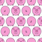 Pink Pig. Seamless Pattern. poster