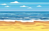 Seascape Tropical Beach Travel Holiday Vacation Leisure Nature Concept, Ocean, Sea, Shore, Vector Il poster