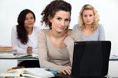 Three women in class