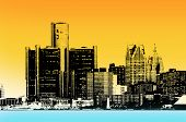A silhoutte image of Downtown Detroit city scape