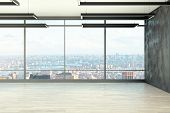 Clean Empty Office Interior With Panoramic New York City View And Daylight. 3d Rendering poster