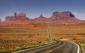 Scenic by way through monument valley in Arizona