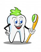 An illustrated cartoon of tooth with paste