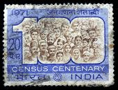 INDIA - CIRCA 1971: A stamp printed in India (present time India) shows Census Centenary,  circa 1971
