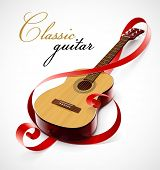 classic guitar as clef symbol vector illustration isolated on white background