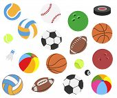 Set Of Vector Realistic Sport Balls For Football, Soccer, Rugby, Tennis, Volleyball, Basketball, Bas poster