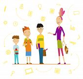 Schoolchildren And Senior Pupil. School Boys And Girls With Backpack And Books, Schoolchildren Portr poster