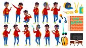 Rap Bottle Singer Boy Schoolboy Poses Set Vector. Black. Afro American. Child Pupil. Active, Joy, Le poster