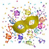 Carnival Golden Mask, Multicolored Serpentine And Confetti On A White Background. Carnival Mask With poster