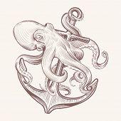 Octopus With Anchor. Sketch Sea Kraken Squid Holding Ship Anchor. Octopus Navy Tattoo Vector Vintage poster