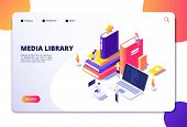 Online Library Isometric Concept. People In Bibliotheque, Books Laptops. Reading Technology Electron poster