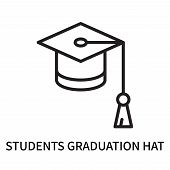 Students Graduation Hat Icon Isolated On White Background. Students Graduation Hat Icon Simple Sign. poster