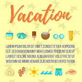 Vacation Postcard Background Concept. Cartoon Postcard Of Vacation Background Concept For Web, Giftc poster