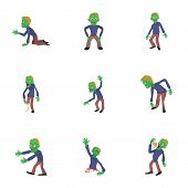 Zombie Party Icons Set. Cartoon Set Of 9 Zombie Party Icons For Web Isolated On White Background poster