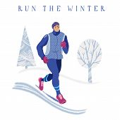 Winter Running Concept - Young Athletic Man In Warm Clothes Jogging In Park, Flat Cartoon Vector Ill poster