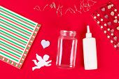 Diy Fairy Jar On Red Background. Gift Ideas, Decor February 14, St Valentines Day, Love. Handmade La poster