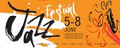 Vector Jazz Festival  Leaflet, Ticket Or Invitation Template. Hand Drawn Illustration And Lettering. poster