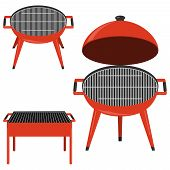 Barbecue Grill. Set Of Realistic Barbecues In Red. Vector Barbecue Illustration Isolated On White. poster