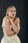picture of jupe  - beautiful girl wearing in dress with corset freezes in rain - JPG