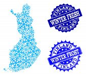 Frozen Map Of Finland And Scratched Stamp Seals In Blue Colors With Winter Fresh And Winter Frost Ti poster