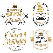Wish You A Very Happy Birthday Dear Friend. Badge, Sticker, Card, With Birthday Hat, Firework, Musta poster