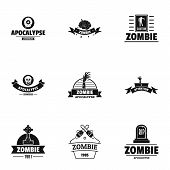 Zombie Way Logo Set. Simple Set Of 9 Zombie Way Logo For Web Isolated On White Background poster