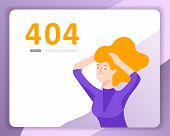 Landing Page Templates Error Page Illustration With People Characters And Cat. Page Not Found. Vecto poster