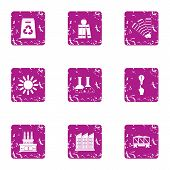 Scientific Production Icons Set. Grunge Set Of 9 Scientific Production Icons For Web Isolated On Whi poster