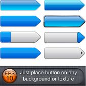Blank blue web buttons for website or app. Vector eps10.