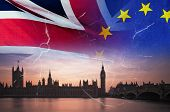 No Deal Brexit Concept Image Of Cracks Over Image Of London With Uk And Eu Flags In Image poster