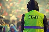Staff Guard With The Phosphorescent Vest At The Outdoor Concert And During A Storm poster