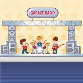 Garage Rock Band Concept Background. Cartoon Illustration Of Garage Rock Band Concept Background For poster
