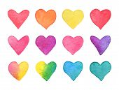 Hand Drawn Watercolor Heart Set. Rainbow Hearts Collection Isolated On White Background. Romantic De poster