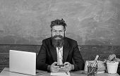Teacher Bearded Hipster With Eyeglasses Sit In Classroom Chalkboard Background. Teacher Sit At Desk  poster