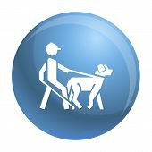 Blind Man Dog Pet Icon. Simple Illustration Of Blind Man Dog Pet Icon For Web Design Isolated On Whi poster