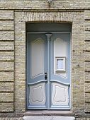 Door To The Moravian Church Hall In Christiansfeld In Denmark