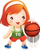 Girl bouncing basketball