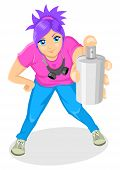 picture of masker  - Cartoon illustration of an attractive girl spraying - JPG