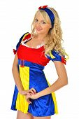 Beautiful Blonde Woman In Mascarade Snow White Costume.
