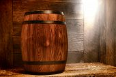 Antique Wood Whisky Barrel Or Old Wine Keg On Ship
