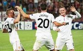 CLUJ-NAPOCA, ROMANIA - OCTOBER 2: van Persie, Cleverley and Rooney in UEFA Champions League match, C