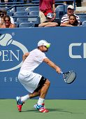 Professional tennis player and US Open champion Andy Roddik practices for US Open