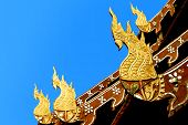Ornament Temple Sculpture Thailand Style Naga, Ancient Holy Snake In Buddhism Legend  Decorate On Te
