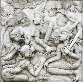 Old Stucco Inside Building Of Phananchoeng Temple, Ayutthaya
