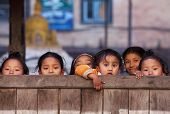 Group of Nepalese schoolgirls in Bhaktapur