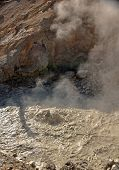 A Steaming Sulfur Spring bubbles at Lassen National California
