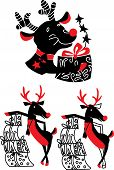 stock photo of rudolf  - Xmas celebration set of reindeer Rudolf vector illustration - JPG